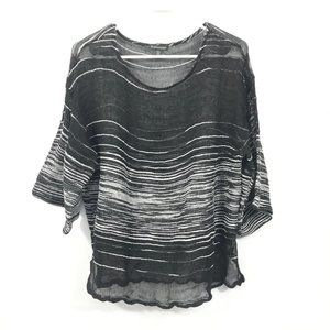 Eileen Fisher Black See Through Pullover Large